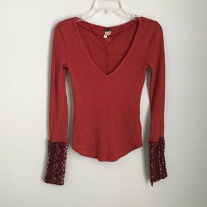 We The Free People Red Art School Cuff Thermal Top